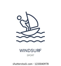 Windsurf icon. Windsurf linear symbol design from sport collection. Simple outline element vector illustration on white background