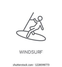 Windsurf linear icon. Modern outline Windsurf logo concept on white background from Sport collection. Suitable for use on web apps, mobile apps and print media.