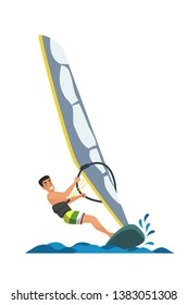 Windsurfer cartoon vector illustration. Young sportsman flat character. Extreme water sports flat isolated drawing. Active adventure for sea, ocean, river. Summer time vacation, resort