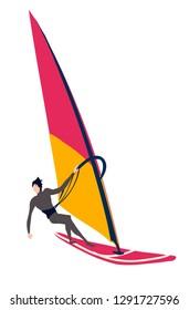 Windsurfer isolated on white background, Windsurfing flat vector illustration.