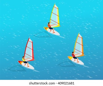 Windsurfer on a board for windsurfing. Creative vacation concept. Water Sports.  Fun in the ocean. Extreme Sport. Flat 3d vector isometric illustration.