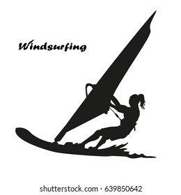 Windsurfer silhouette illustration