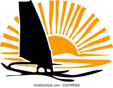 Windsurfer at sunset