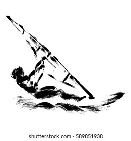 Windsurfer Surfing, made in a grunge technique.