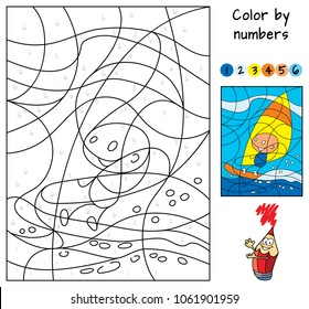 Color By Numbers Educational Puzzle Game For Children Coloring Book Cartoon