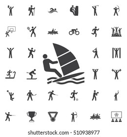 Windsurfing Icon Vector Illustration on the white background. Sport icons universal set for web and mobile