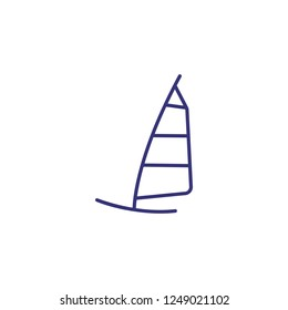 Windsurfing line icon. Windsurfing plank on white background. Sport concept. Vector illustration can be used for topics like sport, activity, windsurfing