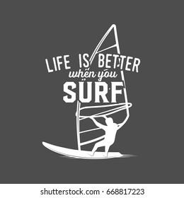 windsurfing retro label, badge, logotypes Surfer vector set. Vintage surf design elements.