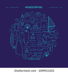 Windsurfing round design. Active sport design concept. Vector illustration.