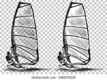 Windsurfing Sketch. Transparency Grid Background Design. Vector Illustration.