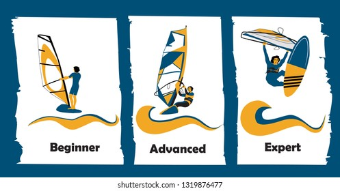 Windsurfing Skills Levels. Beginner Surfer on board with sail. Advanced windsurfer in planning. Expert windsurfer - wave raiding in challenging conditions