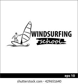 Windsurfing vector illustration for a logo. Windsurfing school