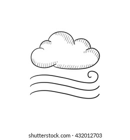 Windy cloud vector sketch icon isolated on background. Hand drawn Windy cloud icon. Windy cloud sketch icon for infographic, website or app.
