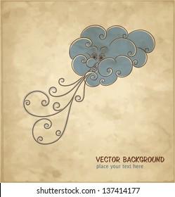 Windy cloud. Vintage background. Vector Illustration.