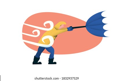 Windy concept illustration. The wind broke the blue umbrella of the man with a yellow rain jacket. Flat trendy illustration.