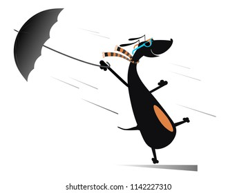 Windy day and a dog illustration. Dog holding an umbrella gone with the wind isolated on white illustration vector
