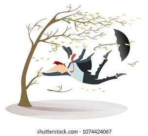 Windy day and man with a hat and umbrella catches a tree isolated.Strong wind, flying leaves and a man lost his hat and umbrella trying to keep his life catching a tree isolated on white illustration