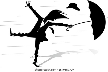 Windy day and man with umbrella illustration. Young man with an umbrella loses his hat gone with the strong wind silhouette black on white