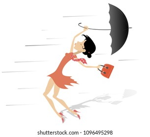 Windy day and woman with a handbag and umbrella isolated. Strong wind and a young woman trying to keep an umbrella and handbag isolated on white illustration vector