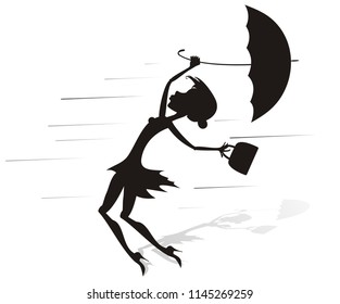 Windy day and woman with umbrella silhouette illustration. Young woman tries to hold an umbrella and a fancy bag gone with the strong wind silhouette black on white illustration vector