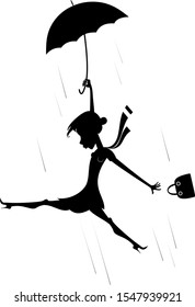 Windy day and woman with umbrella silhouette illustration. Young woman with an umbrella and a fancy bag gone with the strong wind silhouette black on white illustration