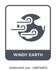windy earth icon vector on white background, windy earth trendy filled icons from Meteorology collection, windy earth vector illustration