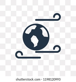 Windy Earth vector icon isolated on transparent background, Windy Earth transparency concept can be used web and mobile