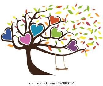 Windy Fall Family Tree with Swing Holding Six Hearts