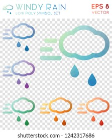 Windy rain geometric polygonal icons. Brilliant mosaic style symbol collection. Pleasing low poly style. Modern design. Windy rain icons set for infographics or presentation.