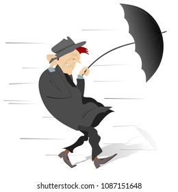 Windy and rainy day and the man isolated illustration. Man walking under the wind and rain trying to keep the hat and umbrella isolated on white vector