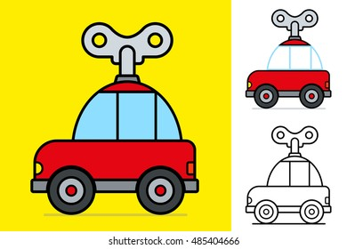 Windy toy car with a large mechanical key on a yellow background for kids, Vector illustration