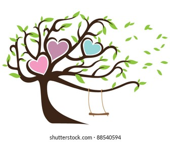 Windy Tree with Green Leaves Framing Three Hearts and Swing