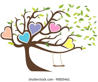 Windy Tree with Green Leaves Framing Five Hearts and Swing
