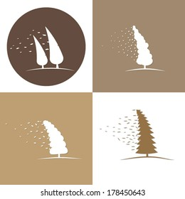 Windy vector tree blowing. Set of icons