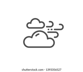 Windy weather line icon. Clouds with wind sign. Sky symbol. Quality design element. Linear style windy weather icon. Editable stroke. Vector