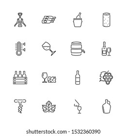 Wine, Alcohol Tasting outline icons set - Black symbol on white background. Wine, Alcohol Tasting Simple Illustration Symbol - lined simplicity Sign. Flat Vector thin line Icon - editable stroke