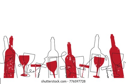 Wine Background. Pattern with Bottles, Glasses. Vector illustration.