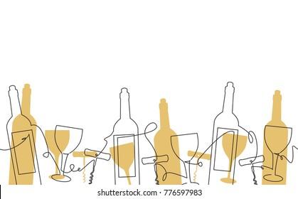 Wine Background. Pattern with Bottles, Glasses. Vector illustration.