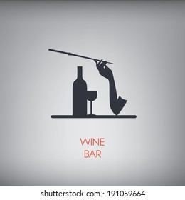 Wine bar concept illustration with silhouettes in vintage style of the 50s or 60s. Eps10 vector illustration.