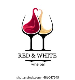 Wine bar logo template. Red and white wine glasses