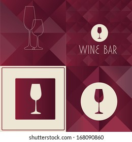 Wine bar menu designs. Collection of retro-styled vector illustrations.