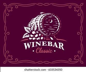 Wine barrel logo - vector illustration, emblem design on maroon color background