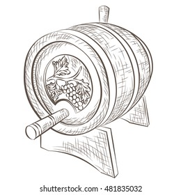Wine barrel Vector isolated on white. Hand drawn ink engraving technique