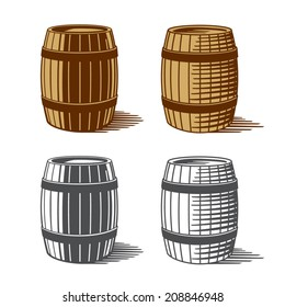 Wine or beer barrels engraving, vector illustration