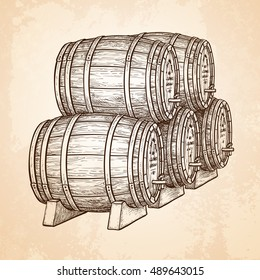 Wine or beer barrels. Hand drawn vector illustration on old paper background. Retro style.