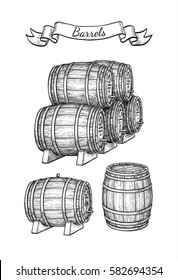 Wine or beer barrels set isolated on white background. Vector illustration.