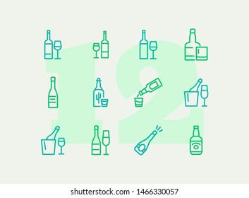 Wine and beer line icon set. Set of line icons on white background. Alcohol concept. Bottle, glass, wine, beer. Vector illustration can be used for topics like restaurant and bar alcohol