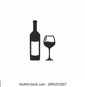 Wine bootle and a glass icon vector on white background