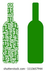 Wine bottle collage icon of zero and null digits in random sizes. Vector digit symbols are composed into wine bottle composition design concept.