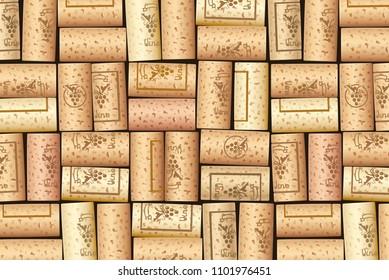 Wine bottle cork. Wooden tap. Pattern for background. Design for wines cart. Sommelier collection. EPS10 vector illustration.